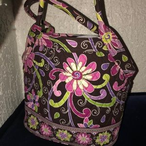 Vera Bradley Purse Brown Pink Daisies Handbag Zip